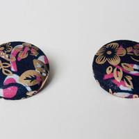 Oversize African Fabric Post Earrings