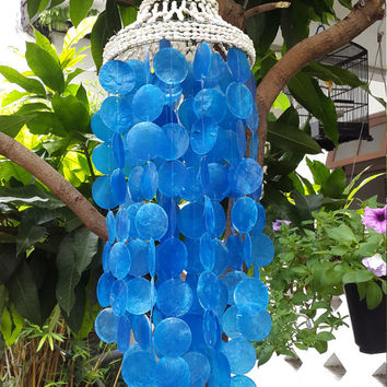 "Nassa Blue Capiz Shells Wind Chime Garden Decor / Beach Wedding Decor (31"")"