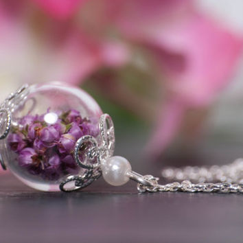 Bridesmaid Gift Set - Set of 3 Beautiful hand blown glass pendants filled with wild Irish Pink Heather flowers.