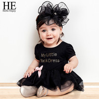 Baby girl dress for wedding, bodysuit with letter and is a short-sleeved black d
