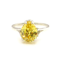 2.5 carat Canary Yellow 9x11mm Pear Diamond Solitaire Engagement Ring, Size 7, Man Made, Wedding, Fine Fashion, Birthstone ring, Sterling
