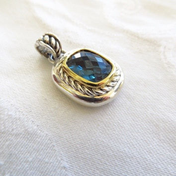 David Yurman Pendant Enhancer  Albion Blue Topaz Sterling Silver 18K Gold