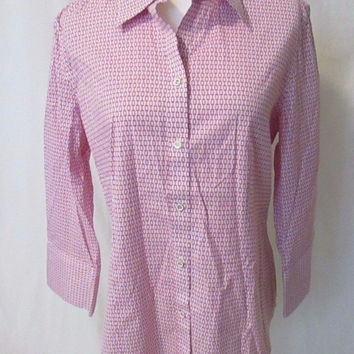 Talbots Women's Blouse Button Front 3/4 Sleeves Size 10 White Bright Pink