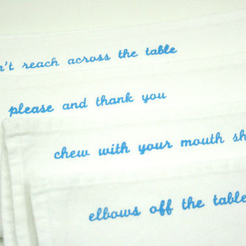 $24.00 Cloth Dinner Napkins Mind Your Manners set of 4 by UrbanBirdandCo