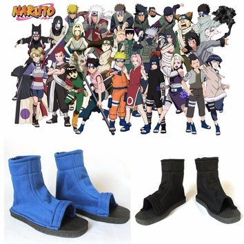 Naruto Sasauke ninja  shoes Cosplay  Costumes kids adult Shoes Anime party Props Blue black shoes AT_81_8