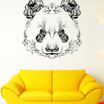 Wall Vinyl Sticker Decal Panda Animal Head Color Pattern Petals Plants (ed412)