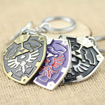 New Design 3D Game The Legend Of Zelda Ocarina Of Time Enamel Metal Shield logo Keychain Surrounding Anime Key Chains souvenirs