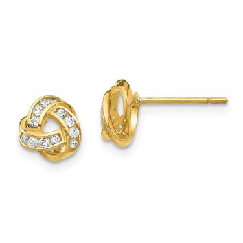 14k Yellow Gold Cubic Zirconia Love Knot Post Earrings