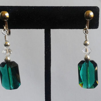 Swarovski Emerald Crystal Clip-On Earrings In Silver // Change to Pierced Optional
