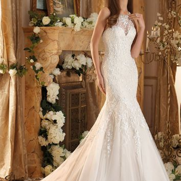 Blu by Mori Lee 5462 High Neck Beaded Lace Fit & Flare Wedding Dress