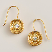 Gold and Clear Round Etched Drop Earrings - World Market