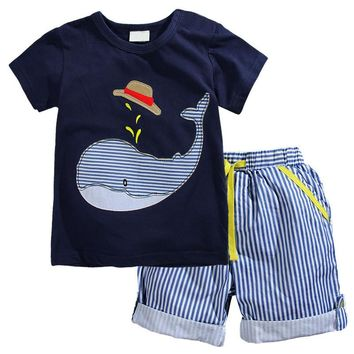 2017 New Summer Kids Clothes Children Clothing Baby Boy Clothes Set Toddler Baby Boys Clothing Set Cotton Knitted Striped Shorts