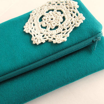 Wool fold over clutch, zipper fold over clutch, dolly clutch, bridal clutch, wool clutch-emerald green