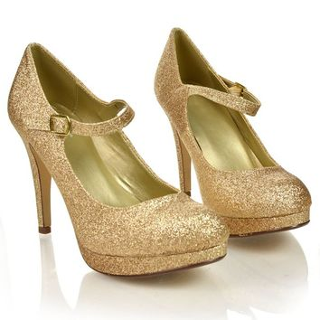 AqTie Gold Glitter Round Toe Dress Patentmp Mary-Jane Strap Women Size Shoe NEW-7