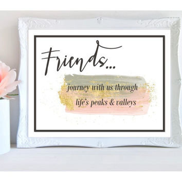 typography print, friends printable, download, gold and pink and grey wall art, couples gift, bff gift, new home gift, apartment bedroom art