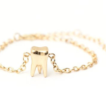 Molar Tooth Bracelet Gold Tone BA10 Dental Charm Gothic Punk Cuff Statement Bangle Fashion Jewelry