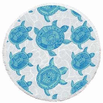 Turtle printed beach towel Round Hippie Tapestry Beach Throw Roundie Towel Throw Round Mat Table Cloth Wall Tapestries Yoga Mat