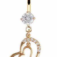 Gold Double Heart Dangle Chain With Silver Crystals Belly Button Barbell Ring Navel Piercing