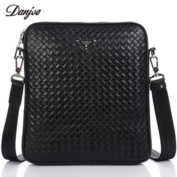 Men Bag Knitting Vintage Male Business Bag Genuine Leather Messenger Bags Soft Classic Black Cross Body Bag Male Daily