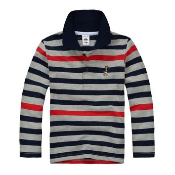 High Quality Kids Boys Polo Shirt Brand Children Long Sleeve Shirt Warm Cotton T-Shirts 2-12age