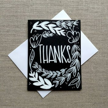 Black and white hand lettered 'Thanks' greeting card, blank hand drawn card, chalkboard style greeting card.