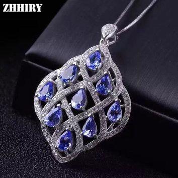 ZHHIRY Women's Natural Blue Tanzanite Stone 925 Sterling Silver Pendant Necklace