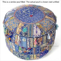 "22"" Blue Round Ottoman Pouf with Floral Embroidered"
