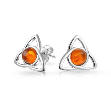 Triquetra Celtic Trinity Knot Amber Stud Earrings 925 Sterling Silver