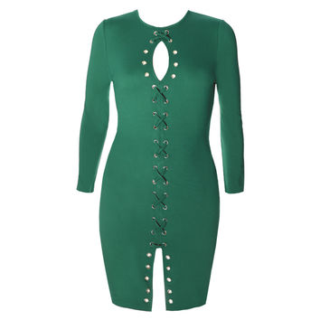 Gold Hardware Criss Cross Lace Up Dress, Green