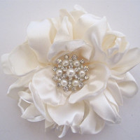 Romantic Ivory Satin Charmeuse Bridal Flower Hair Clip Bride Mother of the Bride Bridesmaid with Beautiful Pearl and Rhinestone Accent