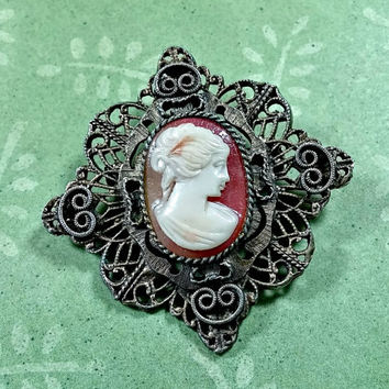 Vintage Cameo Brooch Intricate Openwork Filigree Metal Style Setting Costume Jewelry Great Looking Faux Cameo Great Condition