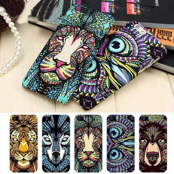 Brand Animals Lion Wolf Owl Pattern Hard Back Phone Case For iPhone 7 6 6s Plus se 5s Glow In The Dark Luminous Forest King Case