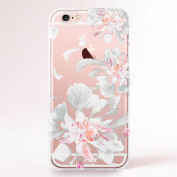 Clear iPhone 6 case, iPhone 6s case, iPhone 6 plus case, iPhone 6s plus case, iPhone 5S Case, Samsung Galaxy Case - White Flowers