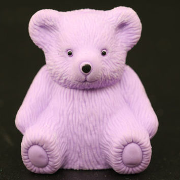Purple Teddy Bear Eraser and Sharpener