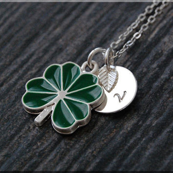 Silver Lucky Shamrock Necklace, Initial Charm Necklace, Personalized Necklace, Lucky Charm, Shamrock pendant, 4 Leaf Clover Necklace