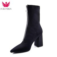 2018 New fashion Mid-Calf Stretch Fabric Sock Boots Women Pointed Toe High Heel Women Boots Brand Design Winter Boots Women