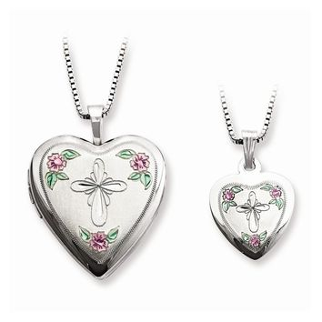 Sterling Silver Cross & Flowers Heart Mom Locket & Daughter Pendant Necklace