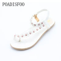[H][C]2017 New Summer Bohemian Women Sandals Slippers For Women Shoes Flip Folder Toe Flat Shoes With Flower .DFGD-669