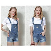 Ladies Shorts Ripped Overalls