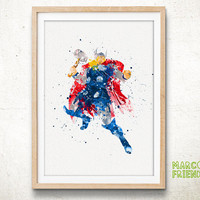 Thor, Avengers - Watercolor, Art Print, Home Wall decor, Watercolor Print, Superhero Poster