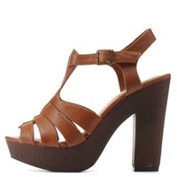 Cognac T-Strap Wooden Platform Chunky Heels by Charlotte Russe