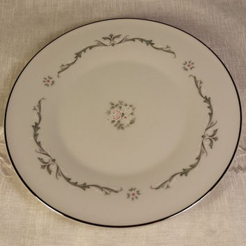 Petite Bouquet Pattern, Made In Japan, Fine China Signature Collection Bread and Butter Plates Set of 3 Pink & White Flowers, Gray Scrolls
