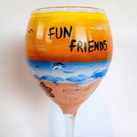 Painted Wine Glass, Sunset and Beach themed. Great for beach wedding , summer vacations, family reunions, your choice of  sayings