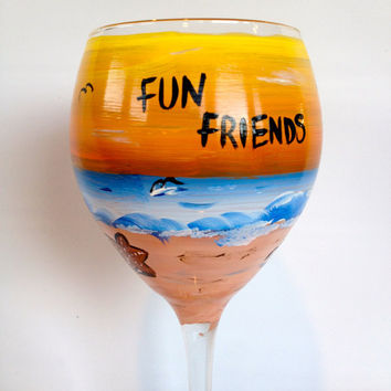 Hand Painted Wine Glass, Sunset and Beach themed. Great for beach wedding , summer vacations, family reunions, your choice of  sayings