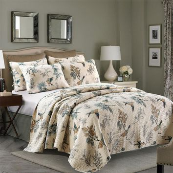 CHAUSUB Washed Cotton QUILT Set 3PCS Birds Printed Quilts quilted BedSpread Bed Cover Shams Bedding King Size Coverlet Set