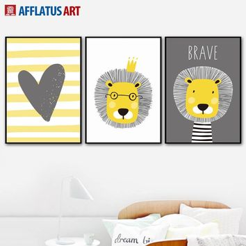 AFFLATUS Yellow Lion Heart Wall Art Print Canvas Painting Nordic Poster Cartoon Wall Pictures For Kids Room Baby Room Wall Decor