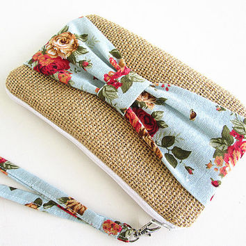 Burlap wristlet burlap clutch bridal cluth bridesmaid clutch- Blue rose.