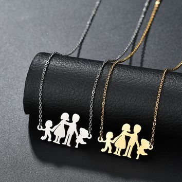 Wonlife Stainless Steel Necklace Mama Family Necklaces Jewelry Silver Color Love Boy Girl Happy Family Pendant Choker Necklace