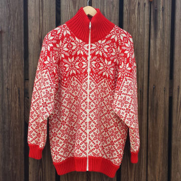 Vintage Women's Sweater - Wool Sweater - Nordic Snowflake - Red and White - SZ L