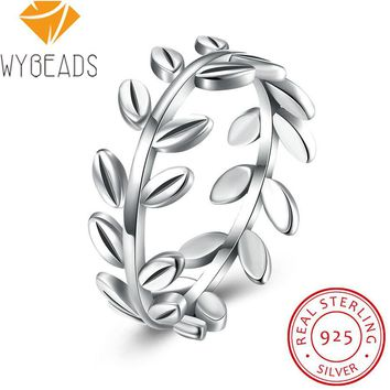 WYBEADS 100% 925 Sterling Silver Laurel Wreath Rings Leaves Finger Ring For Women Female Wedding Anniversary Fashion Jewelry
